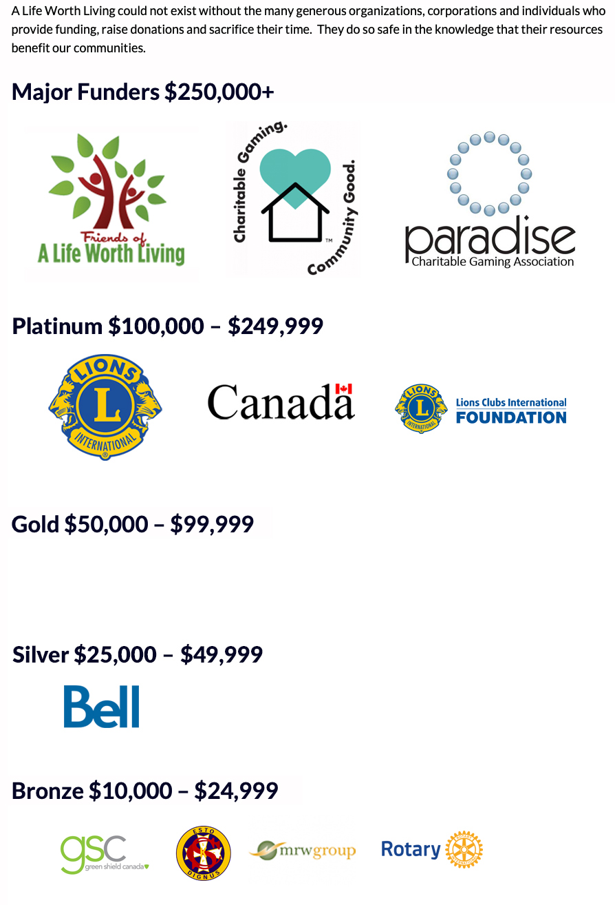 Major Funders over 250 thousand are a Friends of a Life Worth Living, Charitable Community Gaming and the Paradise Charitable Gaming Association.  Platinum Funders between 100 and 249 thousand dollars are Lions International, The government of Canada and the Lions Clubs International Foundation.  For Silver Funders between 25 and 49 thousand dollars there is Bell Canada.  For Bronze Funders between 10 and 25 thousand dollars we have Green Shield, the Knights of Columbus, the mrw group and Rotary.