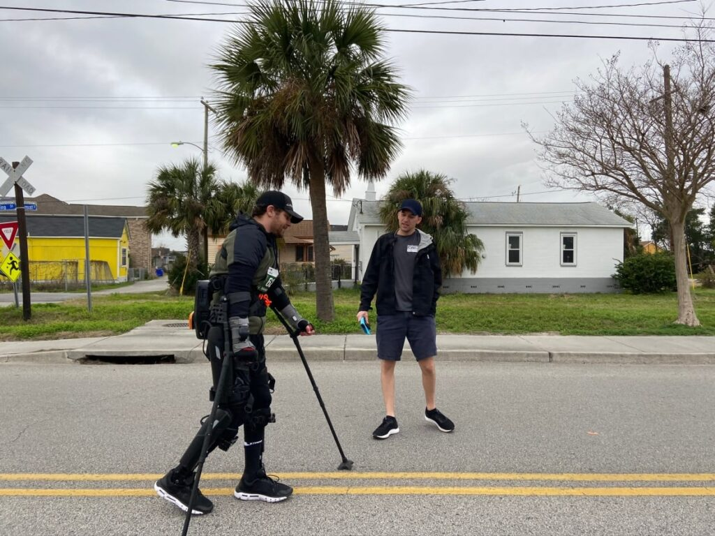 Adam Gorlitsky, who is paralyzed from the waist down, completed the Charleston Marathon in an exoskeleton. (I Got Legs )