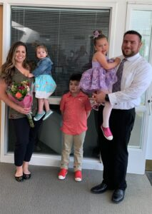 Ashley, Everly, Brycen, Gianna and Joe Juby are pictured together.Ashley Juby