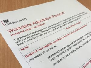 Picture of workplace adjustment passport detail form.