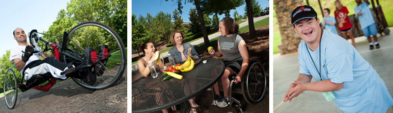 Three different photos, the first is a man riding a Pedelec bike for disabled people, the second is a group of girls eating lunch at a table one is in a wheelchair, and the last is a disabled young man at a college.