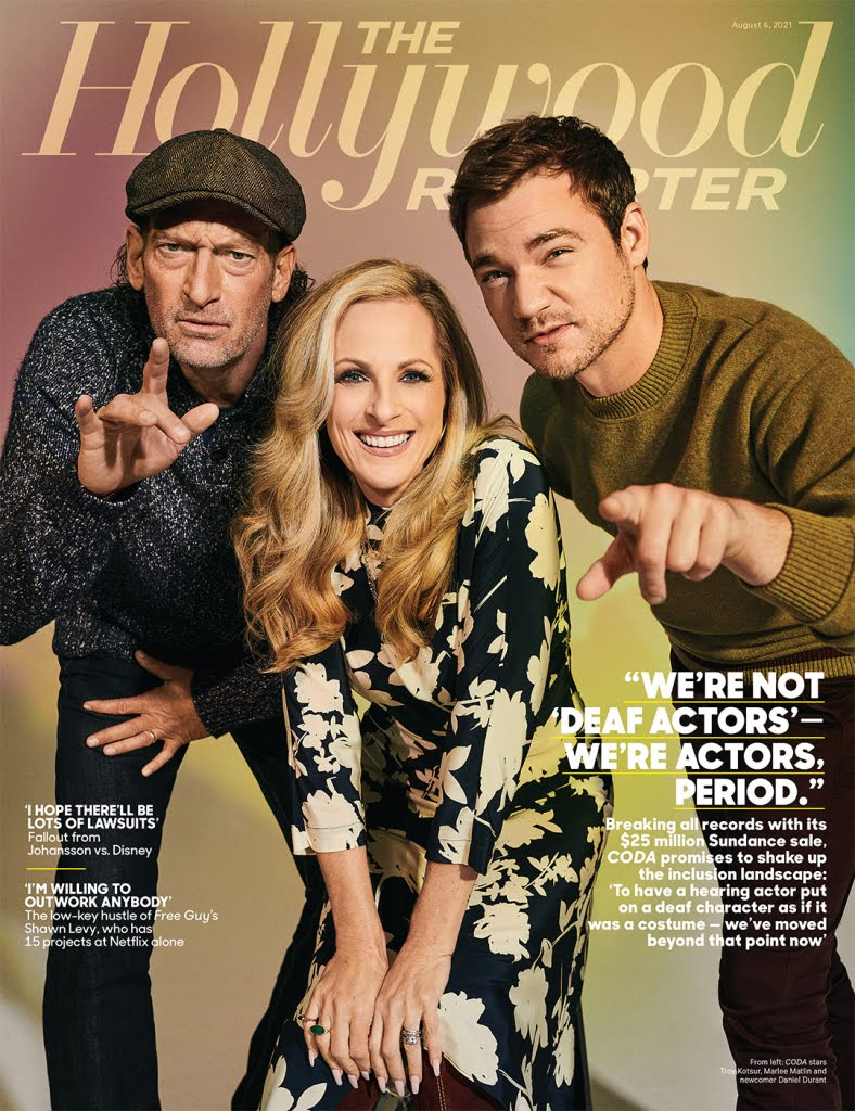 Picture of stars Daniel Durant, Troy Kotsur and Marlee Matlin on the cover of a magazine.