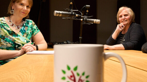 Jo Lynn and Judy in the podcast studio at Clutch Media