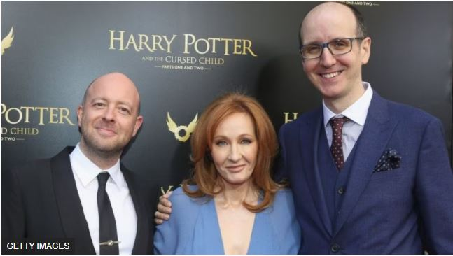 Picture of Jack Thorne with John Tiffany and J.K Rowling.