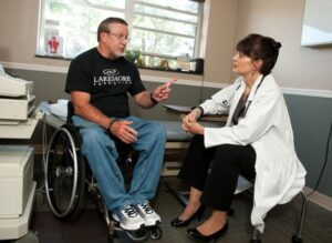 Picture of Jerry in his wheelchair at the doctors.