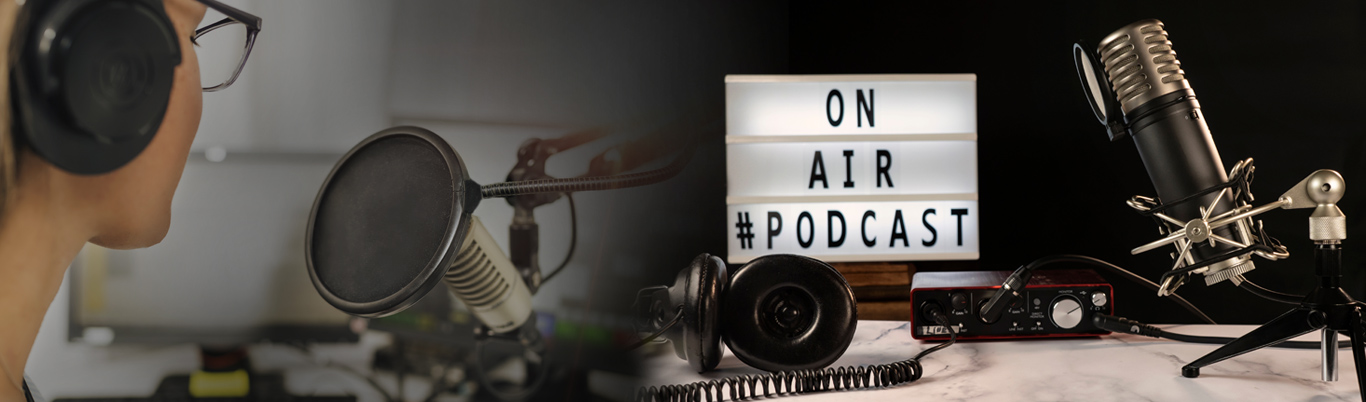 Recording Studio with a sign saying On Air Podcast