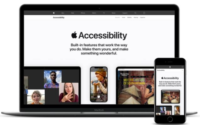 """Picture of a laptop and phone that say """"Accessibility"""""""