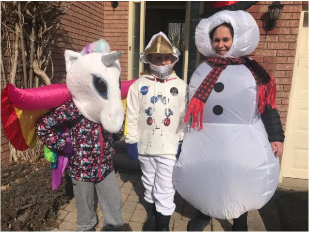 Picture of Poppy, Atlas and Kat opt for a change of costume. These regular walks will help Atlas, who is on the autism spectrum, more easily participate in Halloween festivities come October.